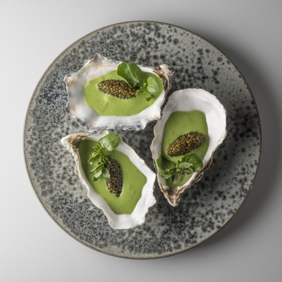4. Special N°1 Oysters, watercress zabaione and Golden Caviar
